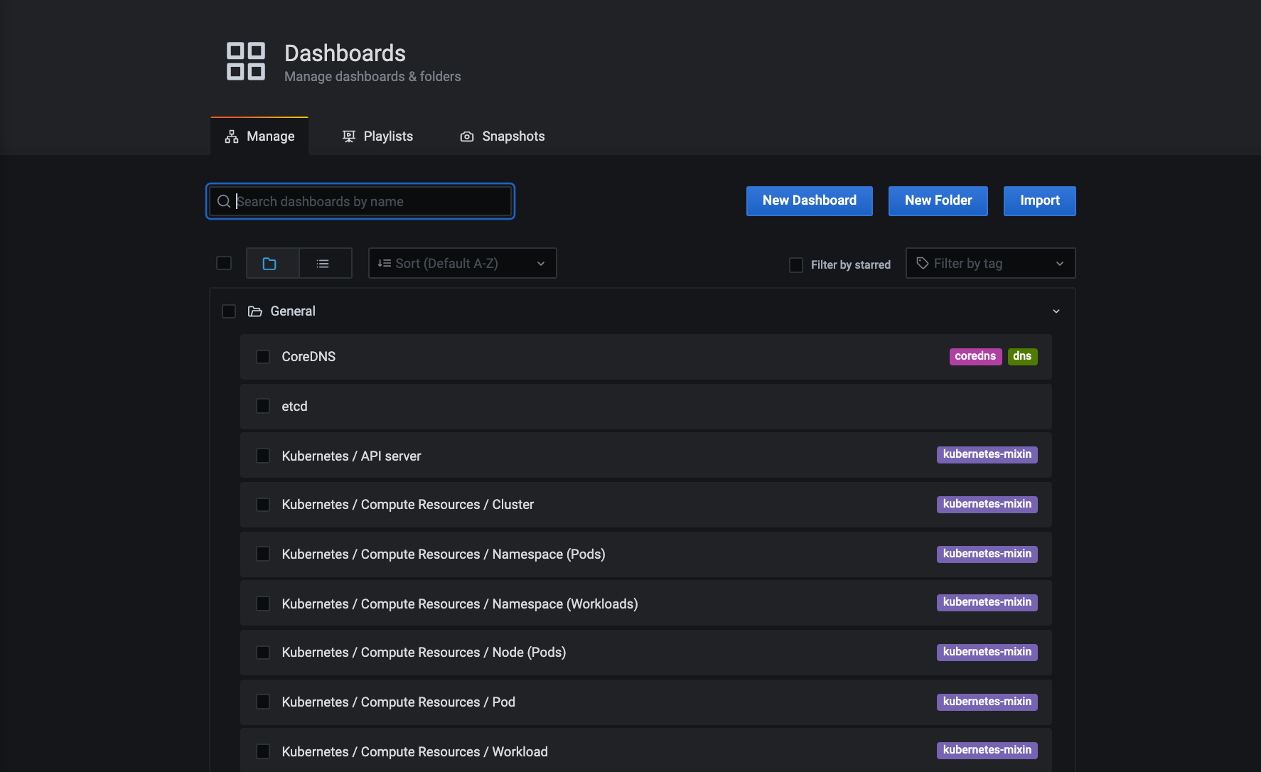 Screenshot of Grafana Dashboards management UI