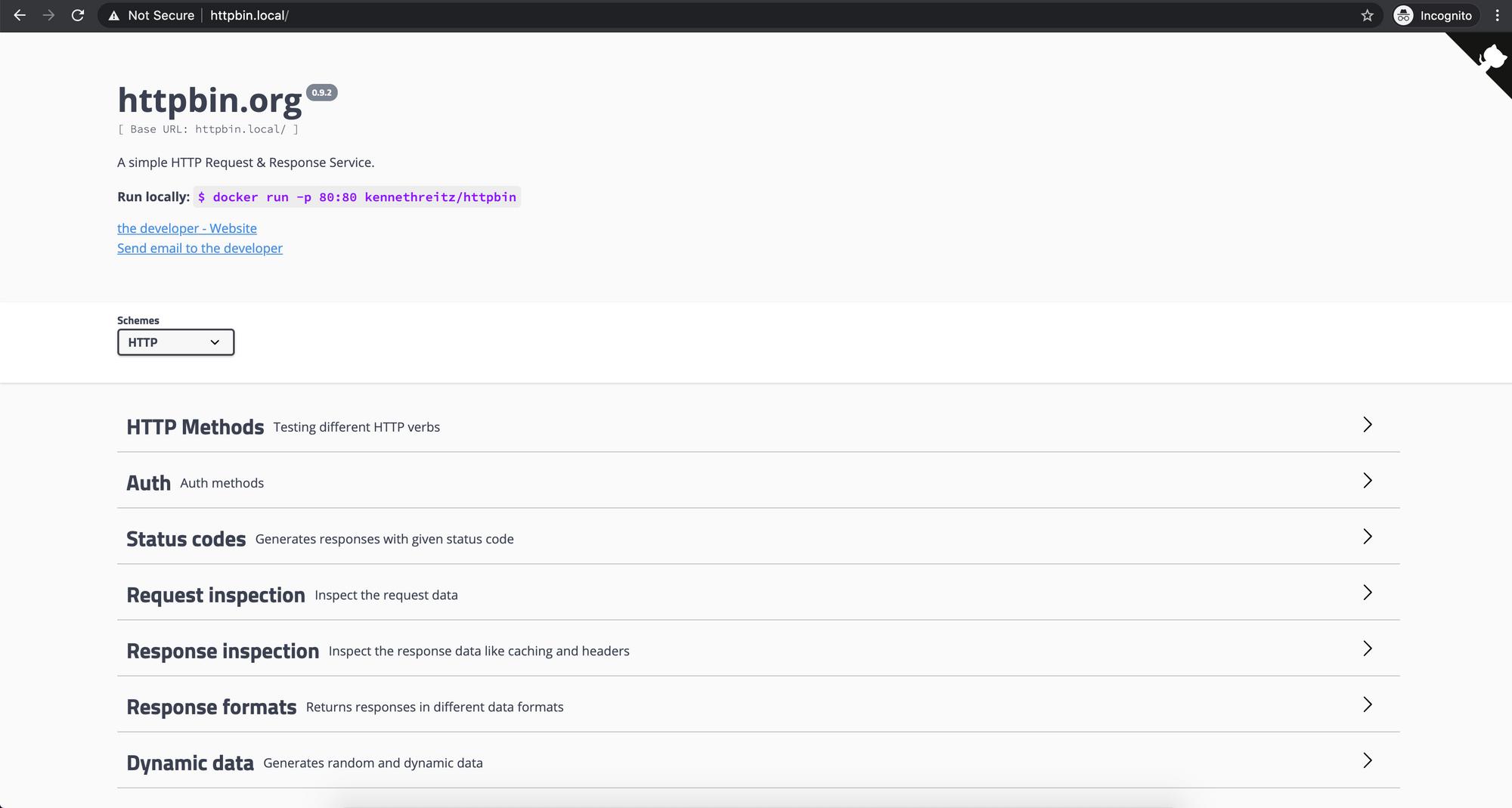Screenshot of the HTTPBin application