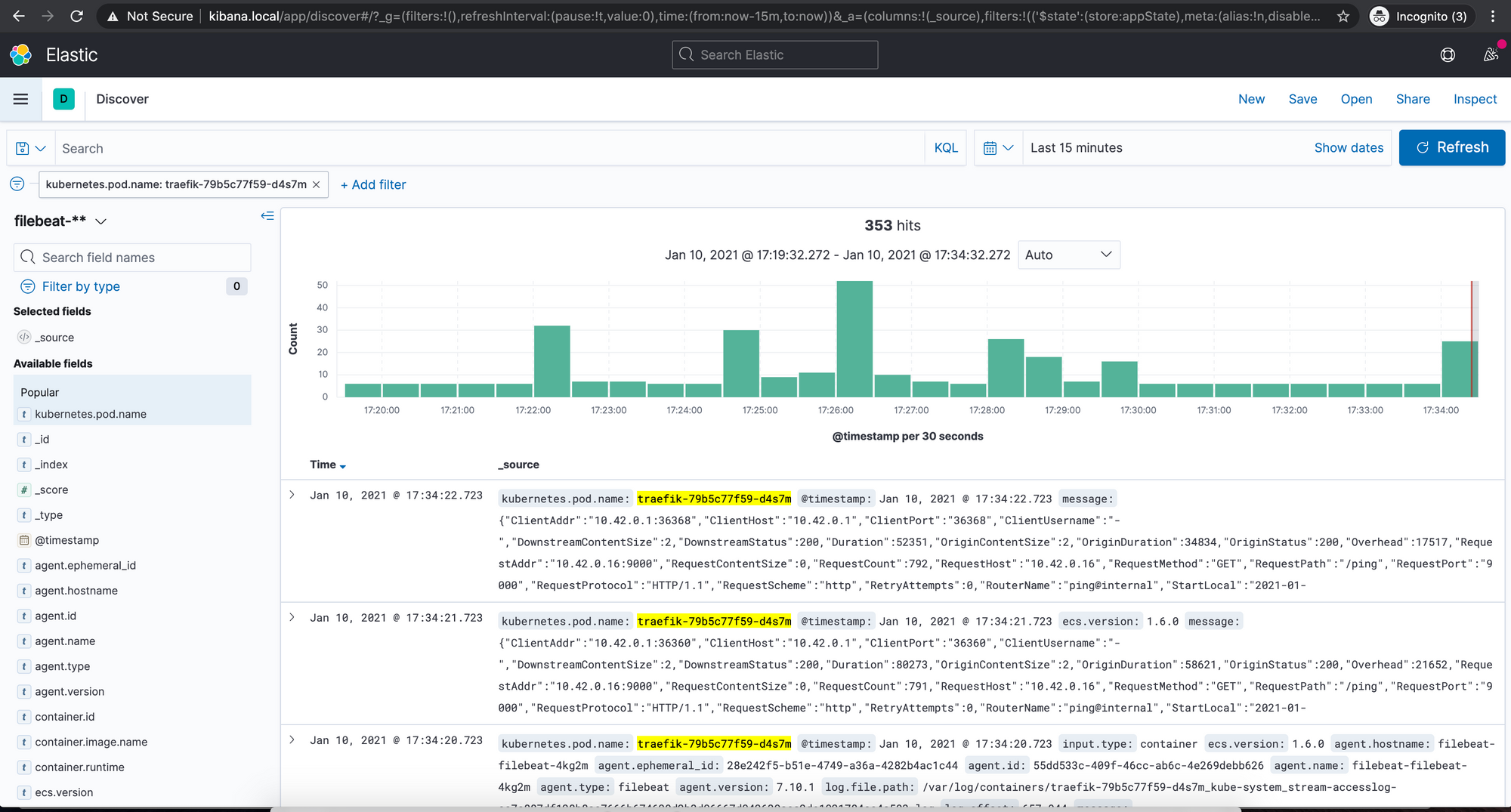 Screenshot of Kibana Discover page